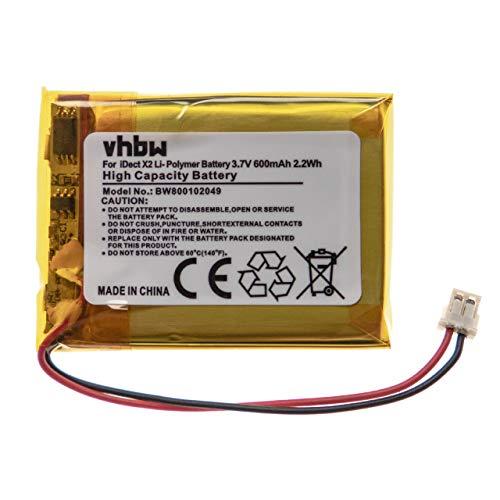 vhbw Akku passend für iDect M1, M2, X2, X2d, X2di, X2i schnurlos Festnetz Handy (600mAh, 3,7V, Li-Polymer)