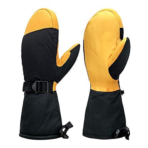 FLAUU Ski Handschoenen, Winter Waterdicht Warm Sport Handschoenen, Ski Snowboarden met rundleer, Winter Motorfiets Riding