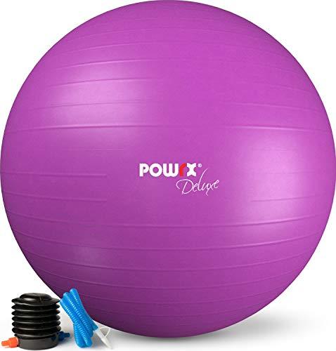 POWRX Pelota de Ejercicio 95 cm - Balón Ideal para Gimnasia, Yoga y Pilates - Anti-explosión con hinchador Incluido + PDF Workout (Violeta)