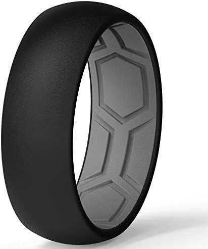 ThunderFit Men Breathable Air Grooves Silicone Wedding Ring Wedding Bands 8mm 1 Ring Black Grey product image