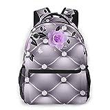 NINEHASA Laptop Backpack,Gold Design Of The Flower 3D,Casual Lightweight College School Bookbag Computer Bag Travel Business Backpacks