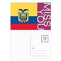 エクアドル国旗の南のアメリカ 国シンボルマークパターン ポストカードセットサンクスカード郵送側20個ミス