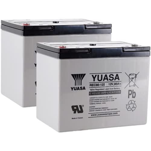 2X AGM 12V / 80Ah Yuasa Blei-Akku - REC80-12I Zyklenfest kompatibel zu 60Ah, 75Ah, 77Ah