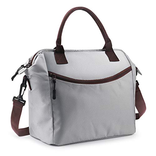 """Idefair Lunch Bag, Insulated Lunch Bag for Women & Men, Lunch Box with Adjustable Shoulder Strap for Work, School, 12.2"""" x 6.88"""" x 11.22"""", Grey"""