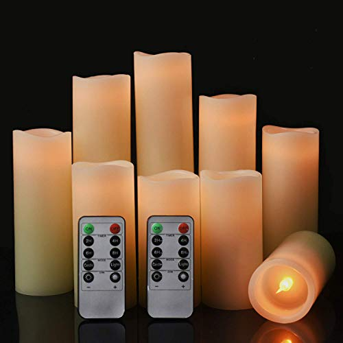 Flameless Battery Operated Led Candles-Set of 9(H 4' 5' 6' 7' 8' 9' x D 2.2')Real Wax Flickering Pillar LED Electric Candles with 10-Key Remote and 24 Hours Timer Ivory