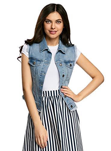 oodji Ultra Donna Gilet in Jeans con Frange, Blu, IT 42 / EU 38 / S