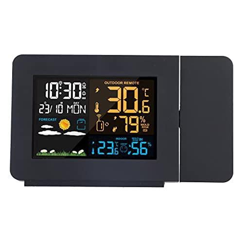SALUTUY Reloj Meteorológico Digital, Función De Pronóstico del Tiempo Reloj Reloj Meteorológico Reloj Multifunción Reloj Termómetro con Función De Proyección para Oficina para Cuarto
