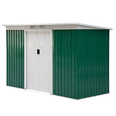 Outsunny 9' x 4' Outdoor Rust Resistant Metal Garden Vented Storage Shed - Green