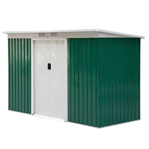 Outsunny 9ft x 4ft Corrugated Garden Metal Storage Shed Outdoor Equipment Tool Box with Foundation Ventilation & Doors