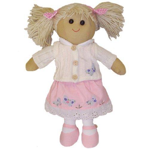 Powell Craft Powell Craft gebreide pop met roze jurk & wit gebreid vest - handgemaakt - medium 40 cm