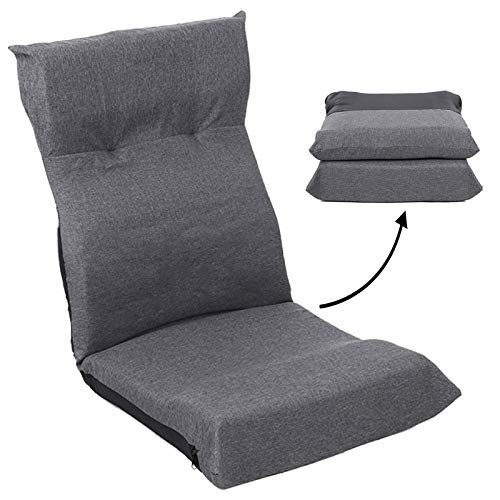 FLOGUOR Ergonomic Floor Chair Multi-Angle Adjustable Floor Lounger Sofa Folding Fabric Lazy Sofa Easy for Storage Comfortable Padded Gaming Chair for Adults & Kids Factory Price (Grey) 128GR