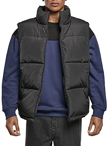 Urban Classics Herren Block Puffer Vest Jacke, Black/Black, M