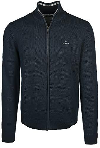 GANT Herren Cotton Pique Zip Cardigan Pullover, Evening Blue, 4XL