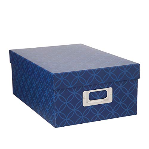 Darice 30032648 Decorative Photo Storage Box: Blue Interlocking