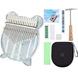 Kimi Kalimba Thumb Piano with Stand Holder Acrylic 17 Key Kalimba Thumb Piano Reflecting Colored Light Mbira Finger Piano with EVA Case Tuning Hammer,Study Instruction Musical Instrument Gifts