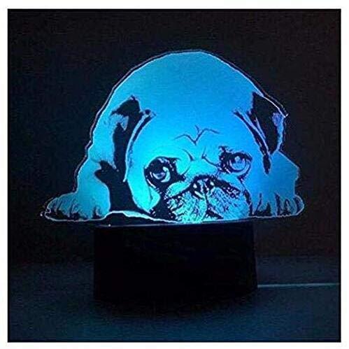 Superiorvznd - Lámpara de mesa con diseño de perro carlino en 3D, 7 luces que cambian de color, decoración del hogar, regalo de Navidad o cumpleaños