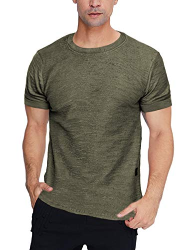 Camiseta de verano para hombre, cuello redondo, corte ajustado, monocromático, camiseta básica de manga corta, gimnasio, fitness, ropa deportiva Top S – XXL verde L
