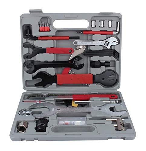 Versión actualizada Set de herramientas de bicicleta profesional, kit de reparación de bicicletas multifuncional de 44 piezas, incluida la rueda libre de destornilladores, Kit de reparación de cono de