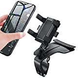 Car Phone Mount 360 Degree Rotation Universal Dashboard Car Phone Holder, Adjustable Spring Clip Car Phone Mount Compatible with iPhone, Samsung, Android 3 to 7 inch Smartphones