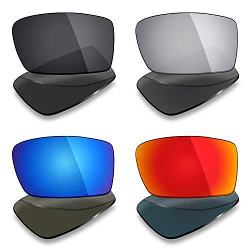 Mryok 4 pares de lentes polarizadas de repuesto para gafas de sol Oakley Gascan – Stealth Black/Fire Red/Ice Blue/Silver Titanium