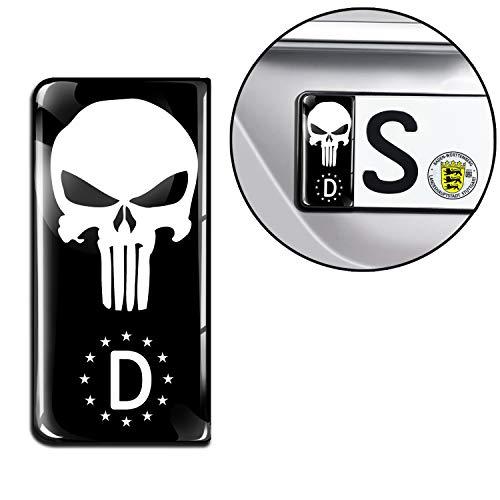 SkinoEu® 2 x 3D Gel Silikon Nummernschild Kennzeichen JDM Aufkleber Stickers Tuning Auto Motorrad Punisher Schwarz Skull Schädel Totenkopf Mittelfinger EU QS 24