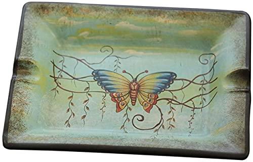 Cenicero cenicero bandeja de ceniza, cenicero de cigarros de cerámica retro americano con patrón de mariposa decoración, cajas de almacenamiento de escritorio adornos decorativos