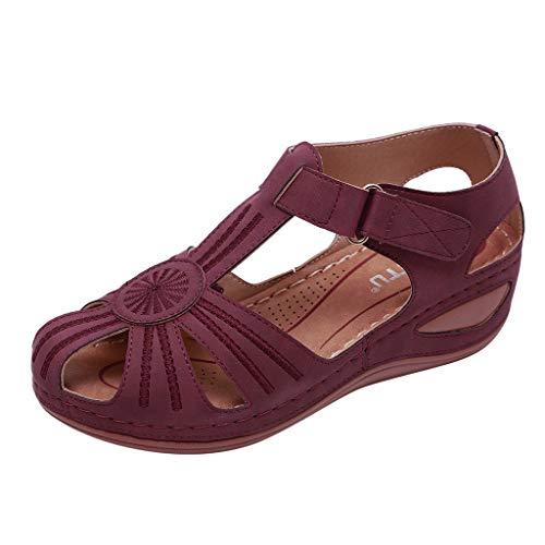 Sillor Sandaletten Damen Freizeit Bequem Weiche Sohle Klettverschluss Weiche Sohle Hollow Out Atmungsaktiv Leichtgewicht Flache Sandalen (39, X Wein)