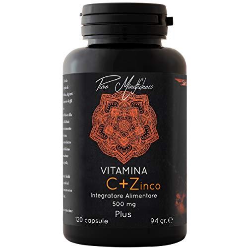 Vitamina C Pura e Zinco 500mg 120 Capsule   Acido Ascorbico Puro ad Alto Potere Antiossidante Rafforza Le Difese Immunitarie Senza Glutine   Pure Mindfulness