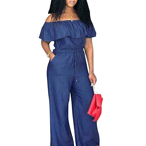 Mialoley Women's Denim Jumpsuit Sexy Off Shoulder Ruffle Long Pants Romper Casual Jeans Playsuit Overalls (Navy Blue, XXL)