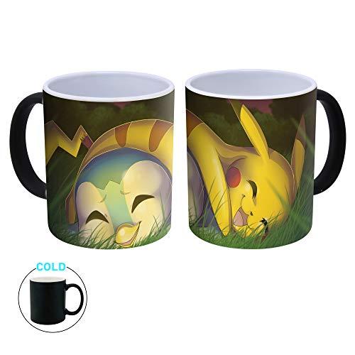 Generic Pokemon Detective Pikachu Farbwechsel Hitzereagierende Magic Kaffeetasse Teetasse POK, Keramik, Piplup