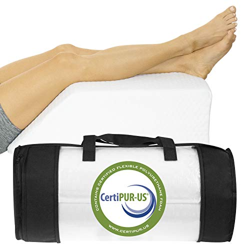 Xtra-Comfort Leg Elevation Pillow - Wedge Elevator Support Cushion for Sleeping, Swelling - Elevated Prop Up Position, Back Pain, Foot Rest, Sciatica - Knee Elevating Incline Memory Foam (White)