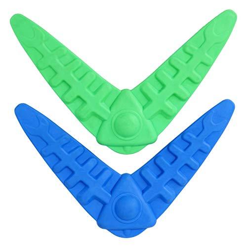 VILLCASE 2 Stück Hund Bumerang Gummi Outdoor Hund Training Spielzeug Leichte Übung Spielen Kau Flyer für Welpen