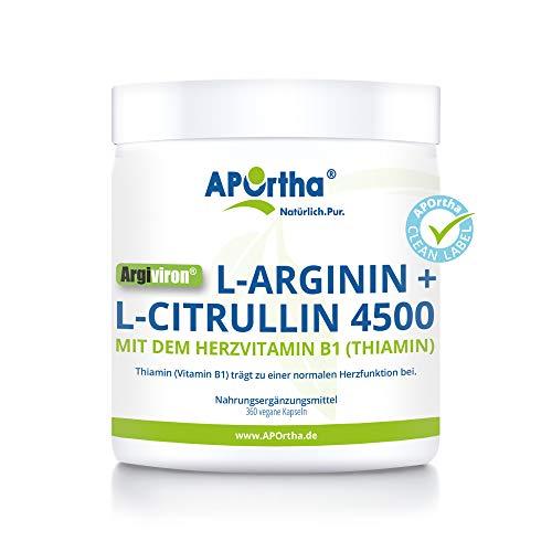 APOrtha Argiviron® | L-Arginin + L-Citrullin 4500 hochdosiert + Herzvitamin Vitamin B1 |360 vegane Kapseln I ohne Zusatzstoffe