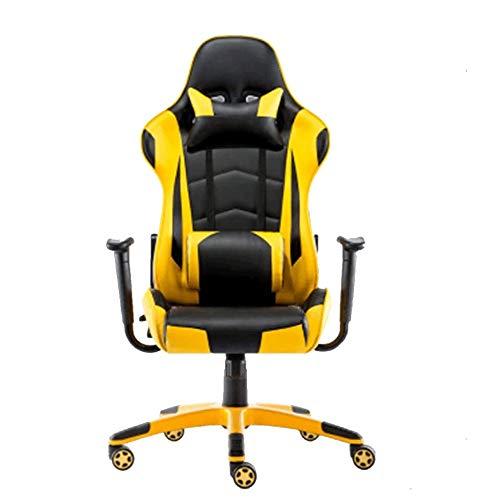 Gaming Chair, Massage bureaustoel met Massage Lendensteun draaistoel met Racing Style Armsteun PU Leather High Back (yello)