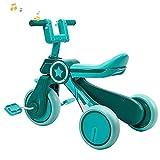 FENGXU Bebes Triciclo Equilibrio, Bicicleta para Bebés de 3 Ruedas con Pedales Desmontables / Música /Luces para Niños/Niñas 10-36 Meses Caminar Indoor Outdoor(Color:Azul)
