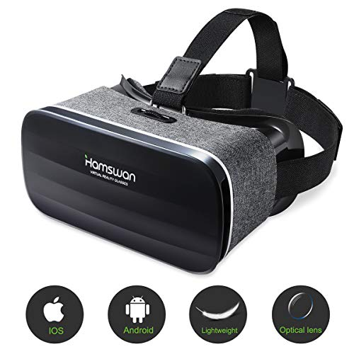 HAMSWAN Gafas de Realidad Virtual, [Regalos Originales] Gafas 3D VR Peso Ligero 238g, VR Glasses Visión Panorámico 360 Grado para Película 3D Juego Immersivo y Móviles 4.0-6.0 Pulgada