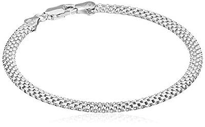 "Amazon Essentials Sterling Silver Mesh Chain Bracelet, 7"""