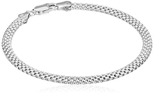 Sterling Silver Mesh Chain Bracelet, 7″