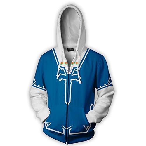 QYIFIRST Unisex Anime 3D Druck Hoodie Langarm Sweatshirt The Legend of Link Cosplay Kostüm Kapuzenpullover Blau S (Brustumfang 104cm)
