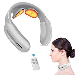 Piroir Portable Neck Massager with Heat Pulse 4D Cordless Intelligent Trigger Point Deep Tissue Massage Birthday Gifts for Mom Wife Women Men Dad