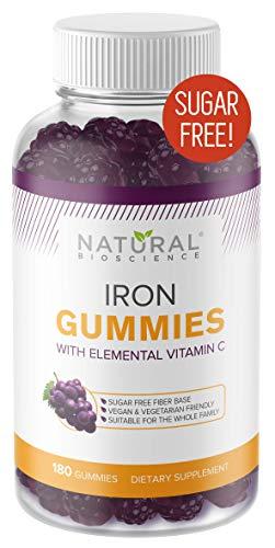 Sugar Free Iron Gummies with Vitamin C- Family Size 180 Gummies, Chewable Iron Supplement for Kids and Adults, No Metal Taste, No Sugar, No Glucose, No Corn Syrup, Kosher, Vegan, Gluten-Free, Non-GMO