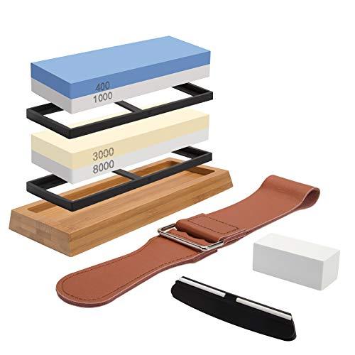 Sharpening Stone Whetstone Set 4 Side Grit 400/1000 3000/8000, Professional Whetstone Knife Sharpener, Knife Sharpening Stone Kit with Non-slip Bamboo Base, Flatting Stone, Angle Guide & Leather Strop