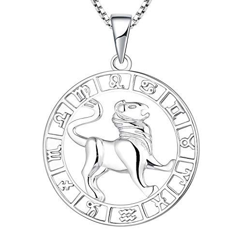 YL Silber Löwe Halskette-925 Sterling Silber Horoskop Sternzeichen 12 Konstellation Anhänger Halskette für Damen