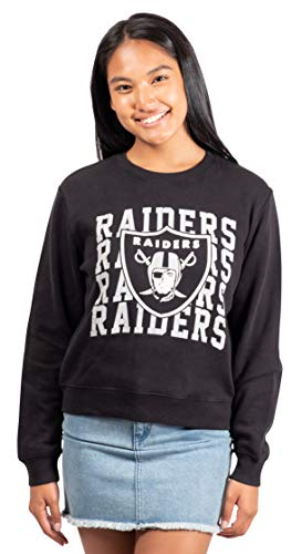 Ultra Game Women's NFL Extra Soft Snow Fleece Long Sleeve Sweatshirt, Oakland Raiders, Black, Medium