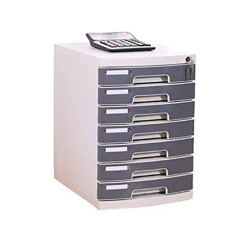 GUOCAO 7-Capa plástica y estética cajón del Escritorio de la Oficina de Caja de Almacenamiento Unidad Organizador Cerradura del cajón Clasificador A4 Oficina