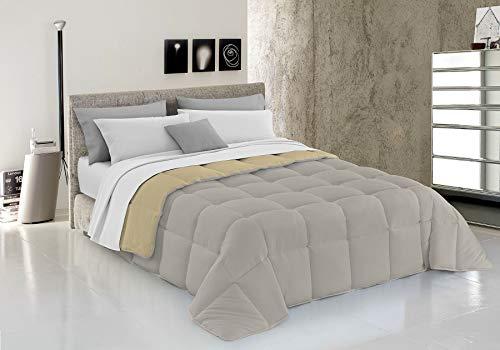Italian Bed Linen Elegant Trapunta Invernale, Microfibra, Panna Grigio Chiaro, A Una Piazza E Mezza, 220 x 260 cm
