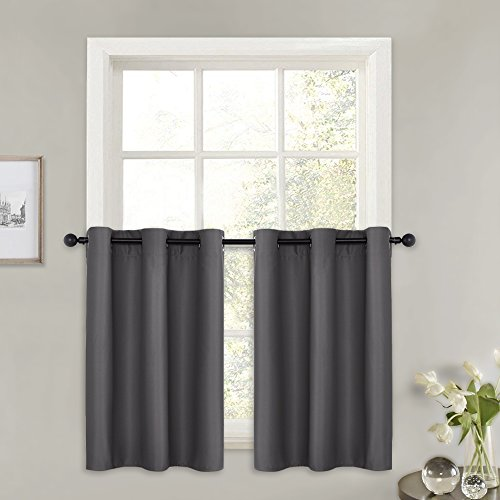 PONY DANCE Blackout Curtains Short - (W 42 in x L 36 in, Grey, Set of 2) Half Window Curtains Tiers Solid Microfiber Valances Panels Thermal Insulated for Basement Window