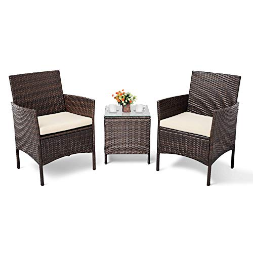 Cemeon 3-Piece Patio Bistro Set Outdoor Furniture Set Brown Wicker with Two Chairs and One Coffee Table (Beige Cushion)
