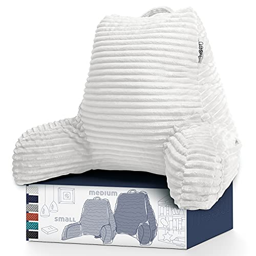 Nestl Cut Plush Striped Reading Pillow for Kids amp Teens Medium Back Pillow Back Support Pillow Shredded Memory Foam Bed Rest Pillow with Arms White