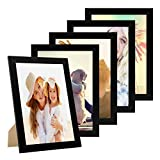 Photolini Juego de 5 Marcos 21x30 cm/DIN A4 Basic Collection Modernos, Negros de MDF, Incluyendo Accesorios/Collage de Fotos/galería de imágenes